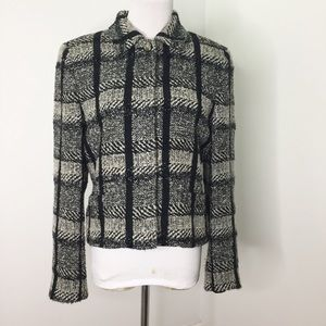 Carlisle Black White Plaid Knit Blazer Jacket